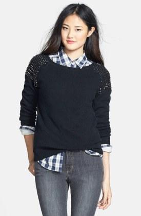Halogen Studded-Shoulder Sweater