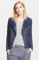 Vince Ribbed Scuba Leather Jacket